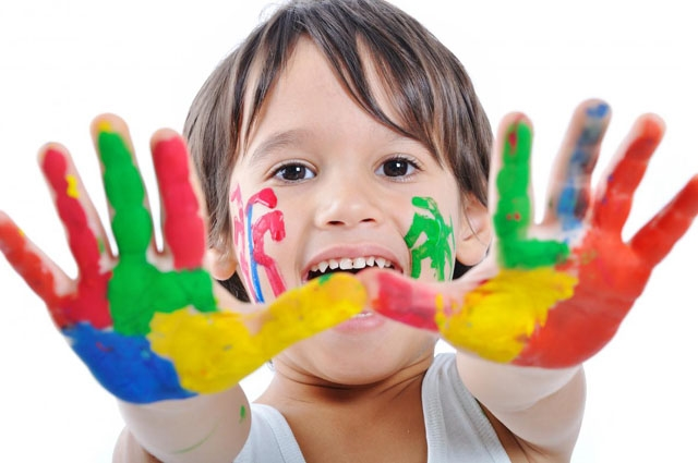 boy painted hands image